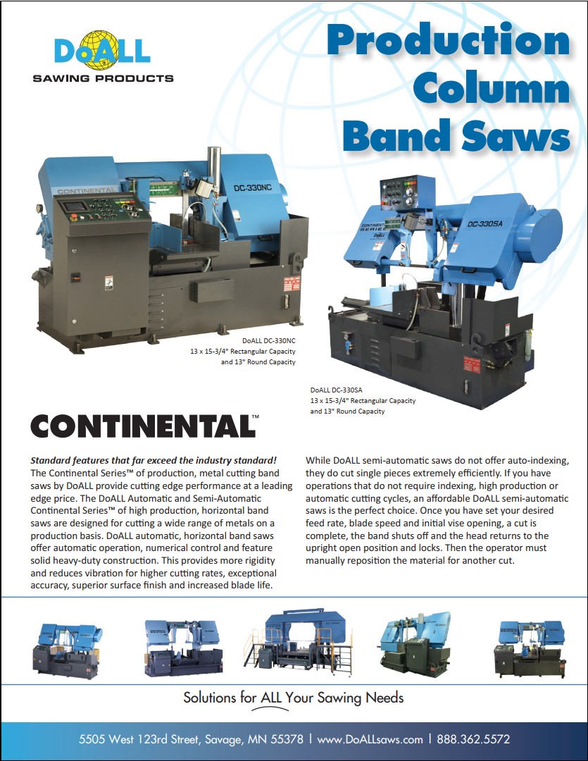 DoALL Continental Production Column Band Saws